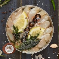 Нельма с маслинами и лимоном (нарезка в масле), 250 гр.