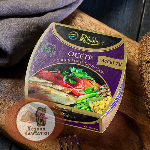 """Осетр с овощами и с гарниром """"АССОРТИ"""",240 гр."""