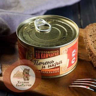 Печень и икра минтая натуральные КАМЧАТКА, 200 гр. Ожидается поступление