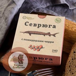 Севрюга обжаренная с помидорами черри, 240г.